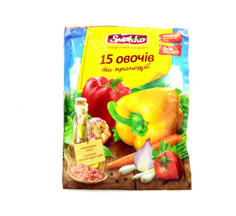 Приправа 15 овочів 70 г Смакко