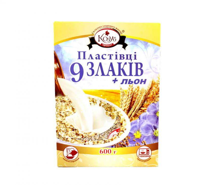 Суміш пластівців 9 злаків та насіння льону 600 г Козуб