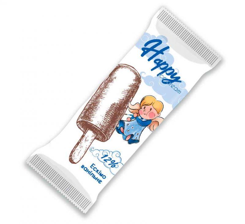 Морозиво ескімо кругле ванільне в шоколадній глазурі 70 г Happy