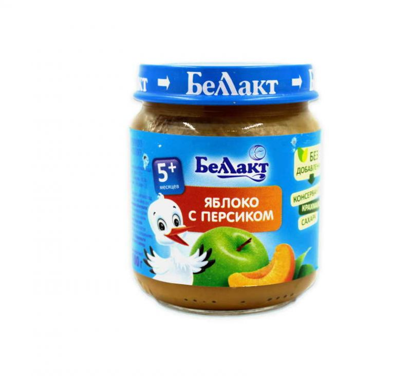 Пюре з яблук та персиків для харчування дітей раннього віку 100 г БелЛакт