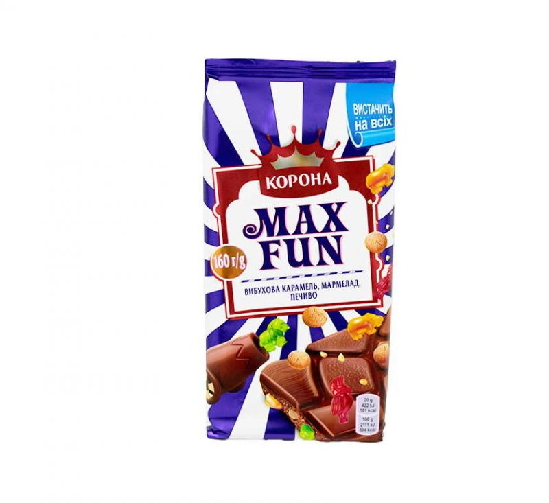 Шоколад молочний Max Fun 160 г Корона
