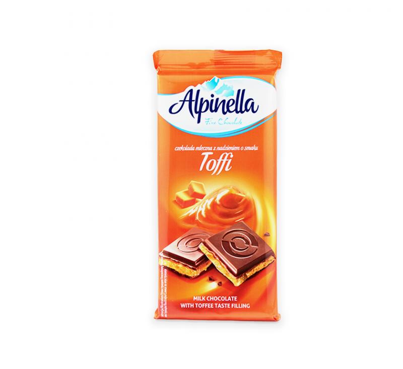 Молочний шоколад з начинкою зі смаком тоффі 100 г Alpinella