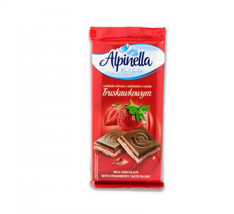 Молочний шоколад з полуничною начинкою 100 г Alpinella