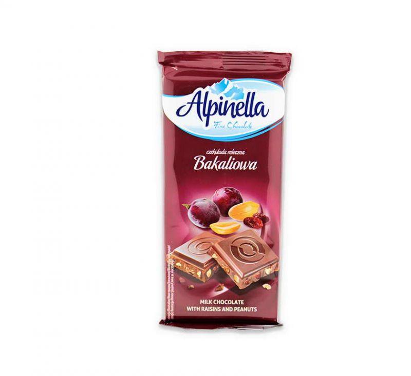 Молочний шоколад з родзинками та арахісом 100 г Alpinella