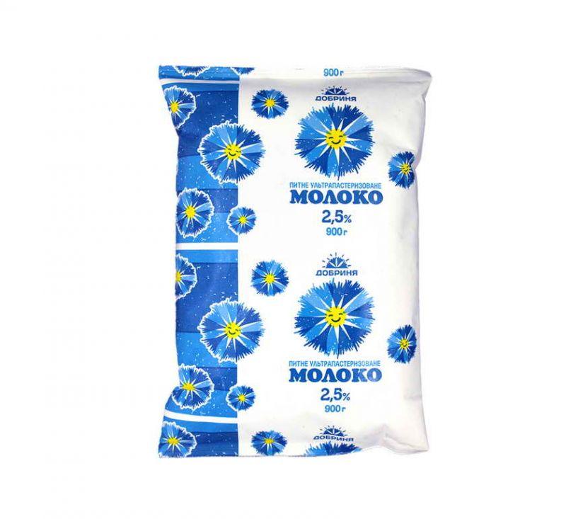 Молоко питне ультрапастеризоване 2,5% 900 г Добриня