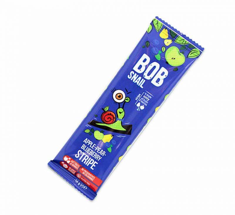 Цукерка фруктово-ягідна «Яблучно-грушево-чорничний страйп» 14 г Bob Snail