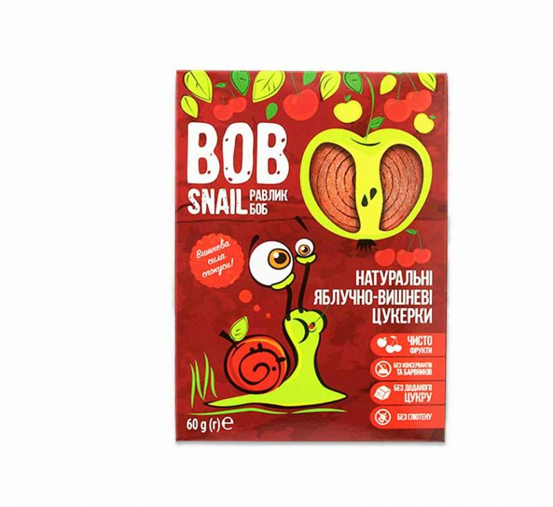 Натуральні фруктові цукерки «Яблуко-вишня» 60 г Bob Snail