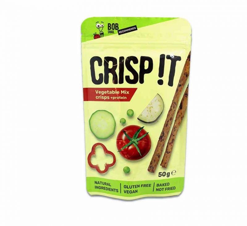 Снек овочевий мікс з протеїном Crisp It 50 г Bob Snail