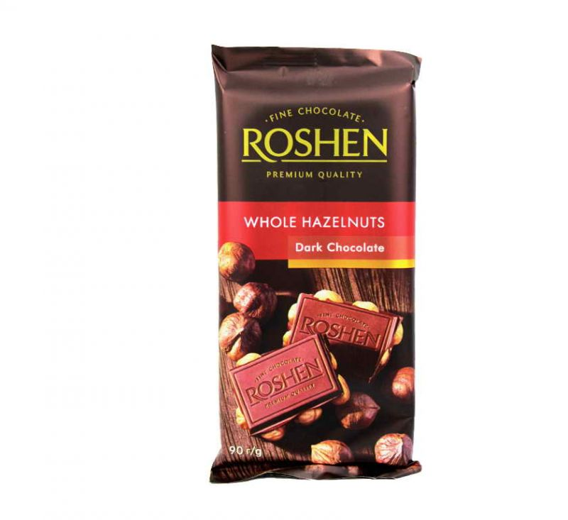 Шоколад екстрачорний з цілим лісовим горіхом 90 г Roshen