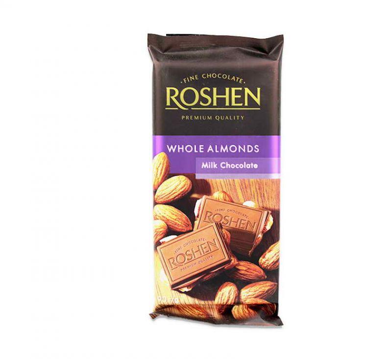 Шоколад молочний з цілим мигдалем 90 г Roshen