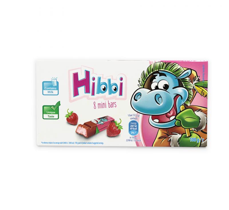 Шоколад молочний з начинкою полуниці та йогурту 100 г Hibbi