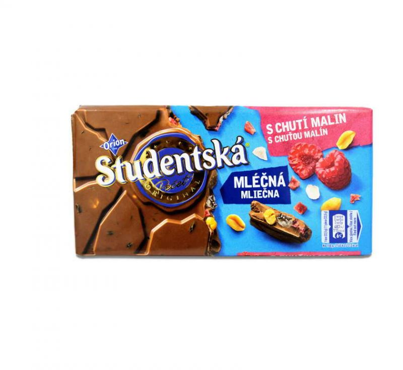 Шоколад молочий з малиною та арахісом 180 г Studentska