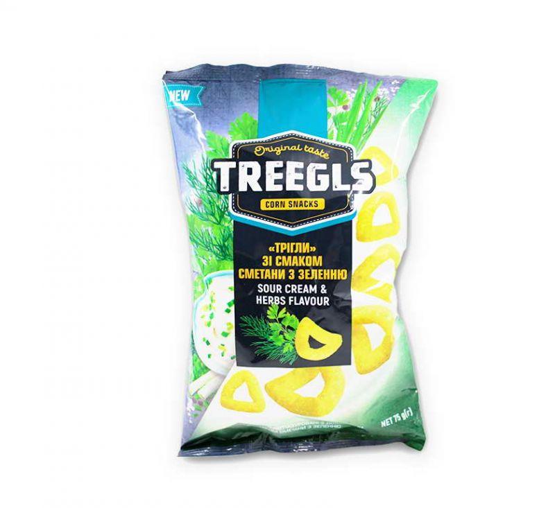 Снеки кукурудзяні зі смаком «Сметана з зеленню» 75 г TREEGLS